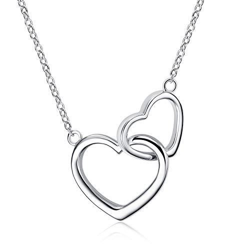 Sterling Silber Mutter Tochter Halskette Halskette mit doppelt ineinandergreifendem Herzanhänger Für Mutter Frau Mädchen Freundin