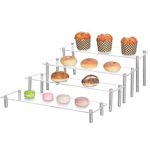 MyGift 4-Tier Rectangular Clear Acrylic Server Cupcake Dessert Display Stand Riser
