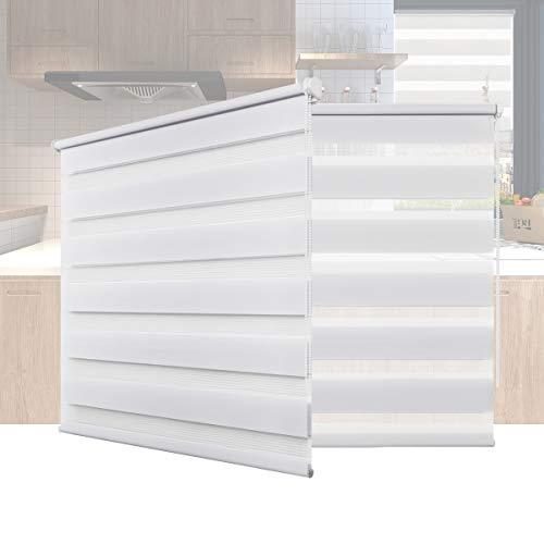 Hunter Mason Doppelrollo Klemmfix Ohne Bohren (Weiss 55x130cm) Duo Rollo Transparentes und undurchsichtiges mit klemmträger Sonnenschutzrollo Fensterrollo für Fenster & Türen