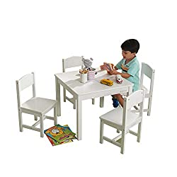 Best Single Tone Wooden 4 in 1 Toddler Table and Chairs Set