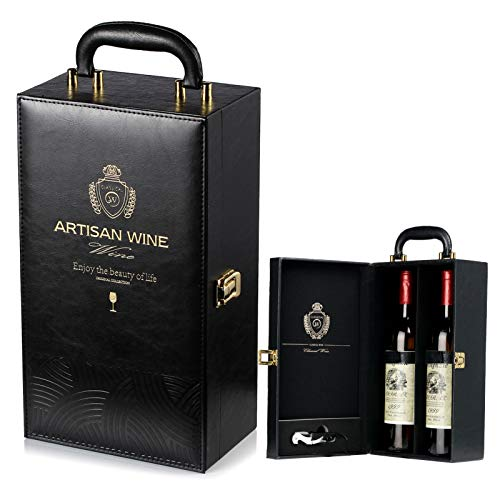 Estuche de Vino Sephywans, Asa Superior de Cuero Artificial para 2 Botellas con 4 Accesorios de Vino Estuche de Vino para Regalo Viaje, Caja Portadora de Vino Hecha a Mano