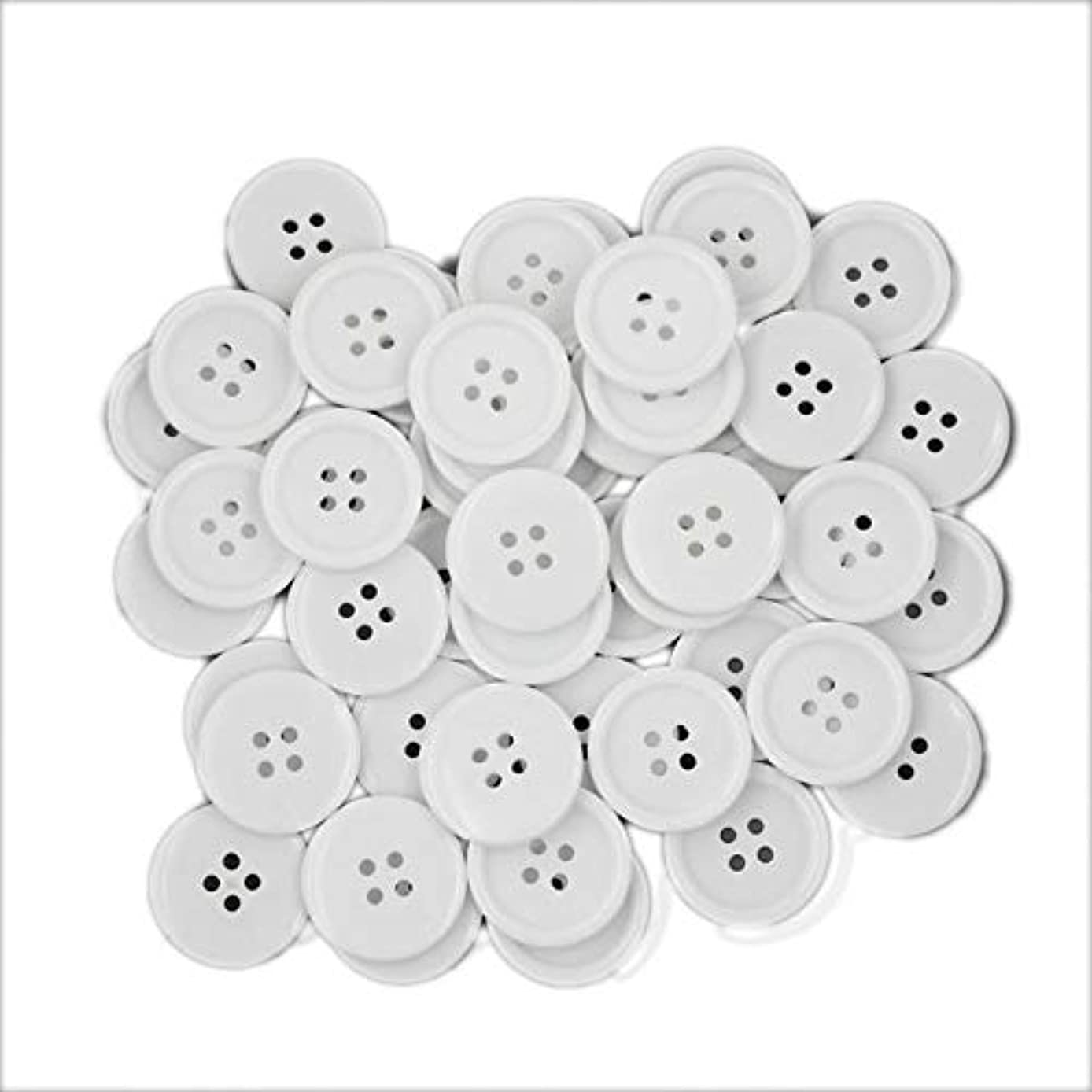 1Inch (25mm) Sewing Flatback Resin Buttons for DIY Craft White Pack of 50 Pcs Leekayer