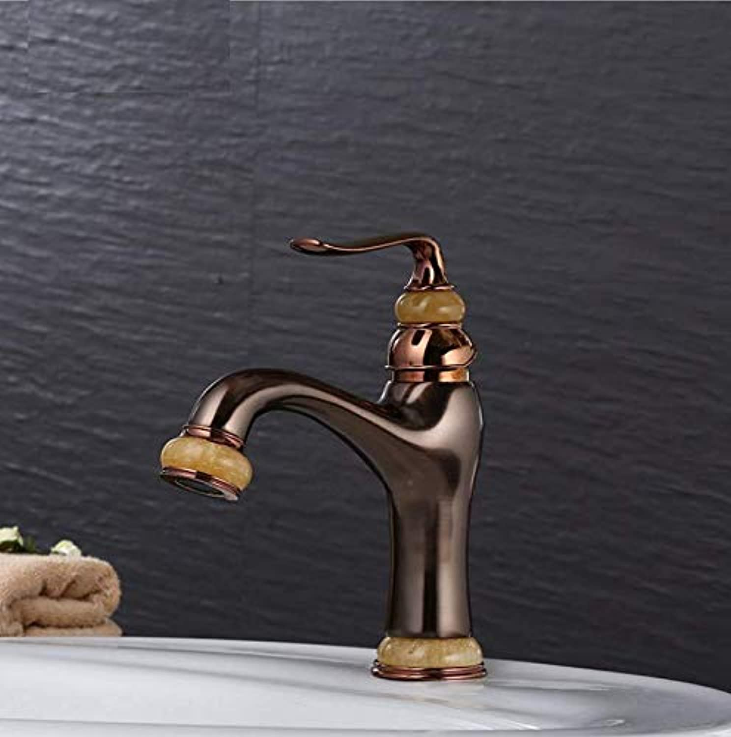 Dwthh Basin Faucets Solid Brass Deck Mount Bathroom Sink Faucet Single Handle Easy Install Vintage Antique Mixer Tap