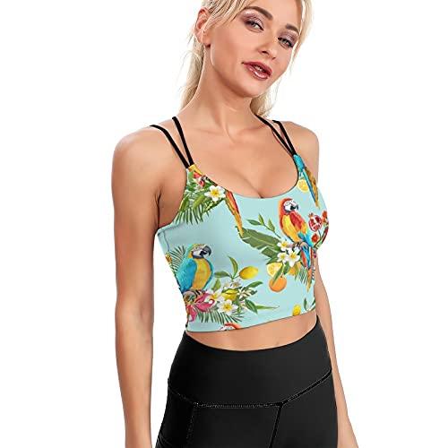 Wearibear Sunphant Sun Elephant Quick Dry Tank Top Running Yoga Reggiseno Palestra Sport Crop Top Shirt - Bianco-tropicale Frutta Fiori Parrot2 L