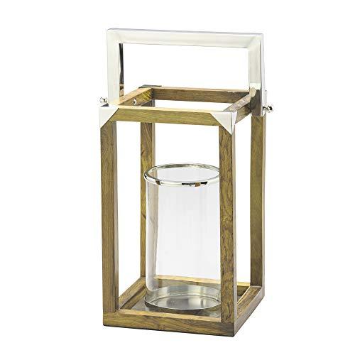Lanterna Decorativa com Alça de Aço com Estrutura de Madeira e Vidro para Vela Lyor Amadeirado/Transparente