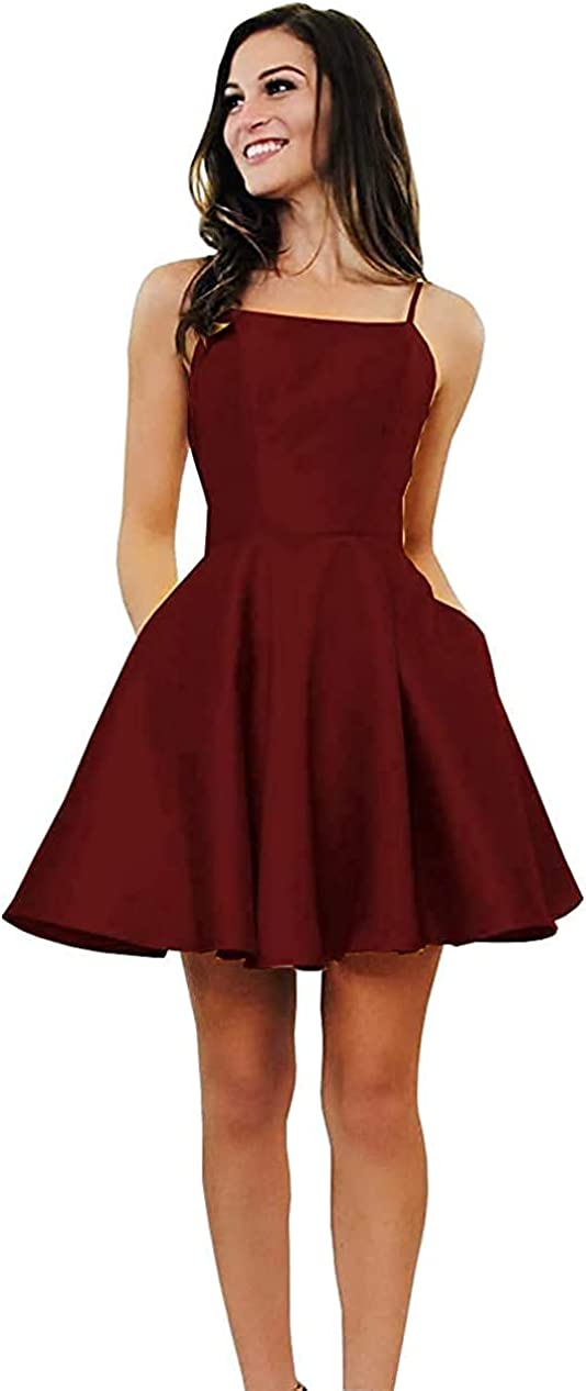 Ladies Satin Homecoming Dress Spaghetti Shoulder Halter Backless Teen Formal Evening Dress with Pockets