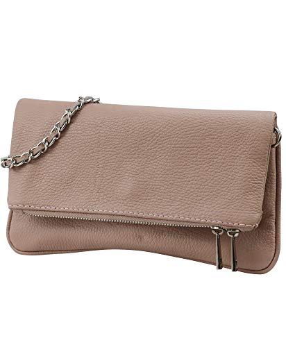SH Leder Echtleder Umhängetasche Clutch kleine Tasche Abendtasche 26x14cm Mia G389 (Nude)