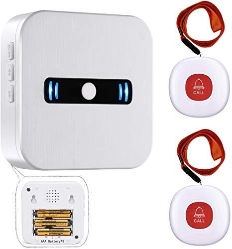 Daytech Botón de llamada inalámbrica del buscapersonas del cuidador para el paciente personal de edad avanzada en el sistema de alerta para el hogar 1 receptor portátil y 2 transmisores SOS