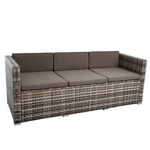 ESTEXO Rattan Lounge Sitzgruppe Polyrattan Gartenmöbel Set Couch 3-Sitzer Rattanmöbel Sofa Set Essgruppe Gartenset Balkon-Set (Beige-Braun) - 6