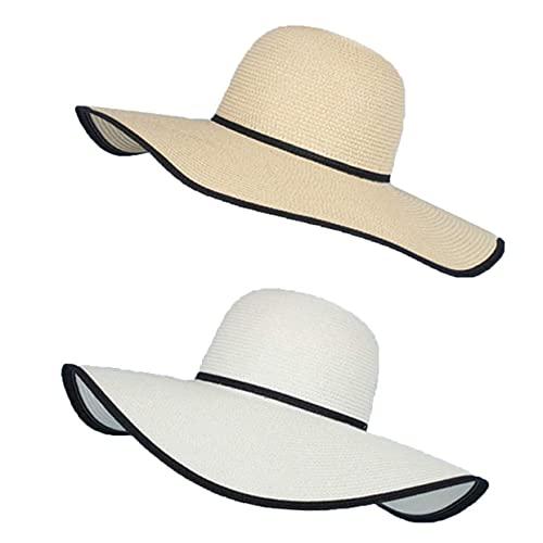 LXFMZ Sombrero de Paja de Verano, Sombrero de Paja Grande, Sombrero de Paja Grande, Grande, Plegable, Plegable, Gorra de Playa, Sombrero de Sol (2 Piezas),B Multi Colored,54~57.5cm