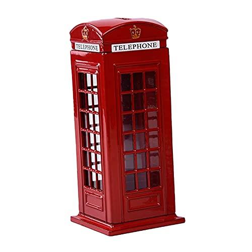 perfk Cabina de Teléfono Decorativa Hucha Aleación Calle Postal Red Mail Post Bank Caja de Ahorro de Dinero Regalo de Recuerdo para Adultos - El 14x6,1cm