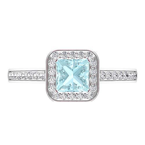Anillo de compromiso de corte princesa de 5 mm, anillo de topacio azul cielo, anillo de halo de diamante HI-SI, anillo solitario con piedras laterales, 14K Oro blanco, topacio azul - cielo, Size:EU 52