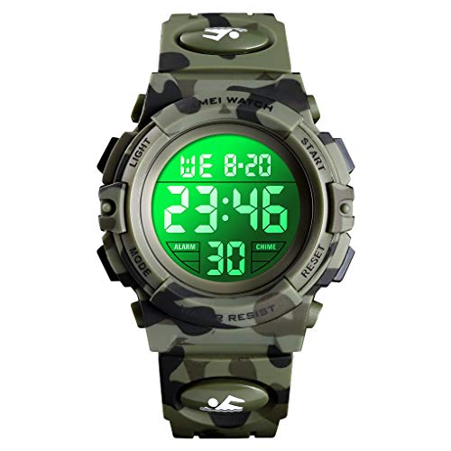 Boys Watch Digital Sports 50M Waterproof Watches Boys Children Analog Quartz Wristwatch with Alarm - Camo Green