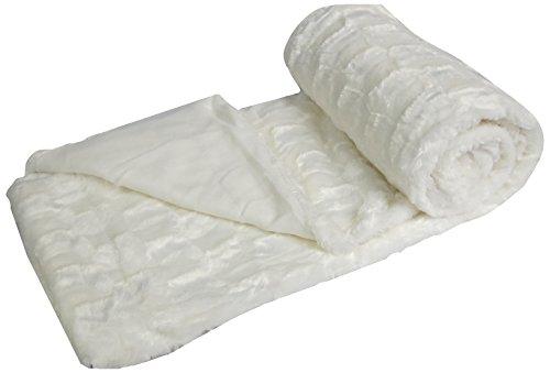 Ourson Plaid Webpelz–dick und flauschig–Motiv Damier–100% Polyester–Bär, BLANC A0, 130X150