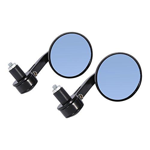 Qiilu 7 8  Universal Espejos laterales de moto motocicleta, par de espejo trasero de manillar Cromo