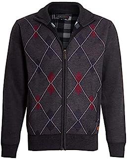 shelikes Mens Cardigan Diamond Pattern Check Fur Line Zip Up Long Sleeve Knitwear Pocket Grandad Jumper Sweater