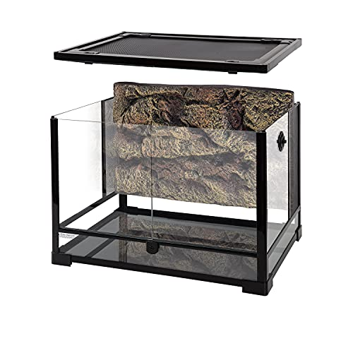 REPTI ZOO 34 Gallon Large Reptile Glass Terrarium Tank with Foam Backgrounds,Double Hinge Door with Screen Ventilation Reptile Terrarium 24' x 18' x 18'(Knock-Down)