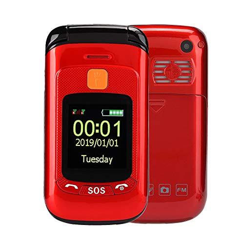 Teléfono Flip Desbloqueado para Adultos Mayores/Ancianos/niños,Pantalla táctil de 2.4 Pulgadas Tarjeta Dual SIM Teléfono Celular con Funciones de cámara/Radio/Alarma Calendario,Rojo(YO)