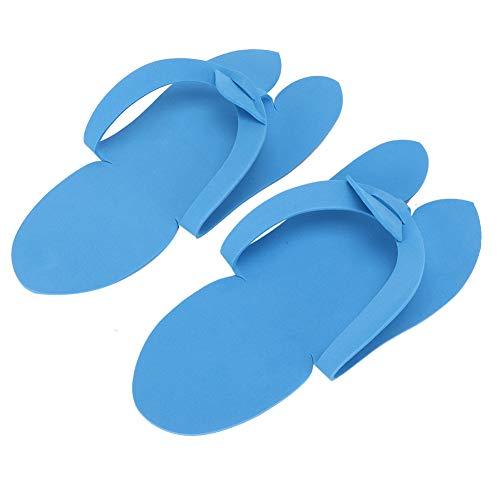 12 paires rose/bleu Nail Art Salon maison voyage tongs, doux EVA matériel à bout ouvert Spa jetable pédicure pantoufles(Bleu)