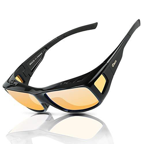 Duco Night Vision Glasses Polarized Wrap Around Eyewear Glasses 8953 (L Size Black Frame, Yellow Lens)