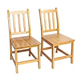 2pcs Sturdy Bamboo Dining Room Chairs Wood Color Fashion for Men Women Kids
