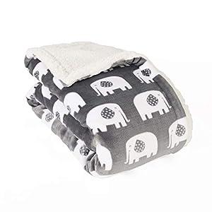 Life Comfort Ultimate Sherpa Baby Blanket, Fluffy Gray Neutral Elephant Blanket for Baby Boy or Girl, Soft Warm Cozy Toddler, Infant or Newborn Blanket for Crib, Stroller, Travel, Nursery