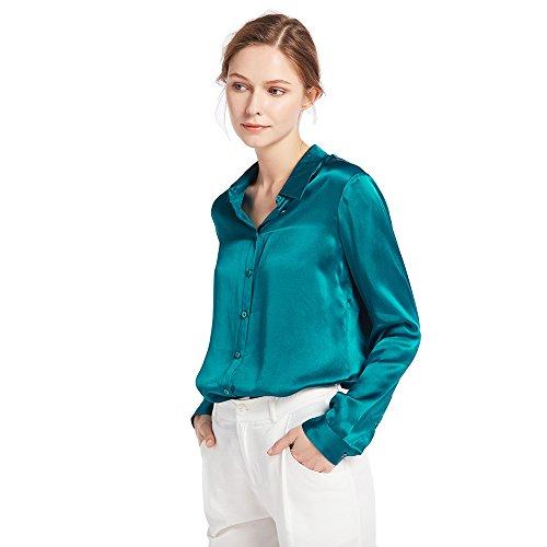 LilySilk Damenbluse Seide Langarm Hemdbluse Oberteil Shirts Damen Kentkragen von 22 Momme (Türkis, XS) Verpackung MEHRWEG