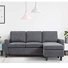 [ Firm & Comfortable]- The cushions you sit on are nice and firm.You'll never have to worry about sinking in.The more you sit in it the better. [ Space Saving ]-Small space reversible sectional sofa. Perfect for my small apartment, upstairs loft and ...