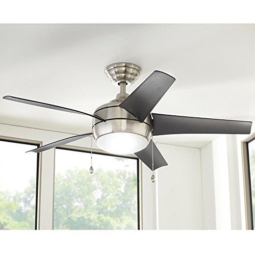 Windward 44 in. LED Indoor Brushed Nickel Ceiling Fan with...