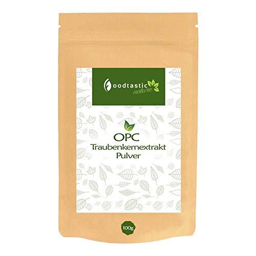 Foodtastic OPC Traubenkernextrakt Pulver 100g, hochdosiert und rein, ohne Zusatzstoffe