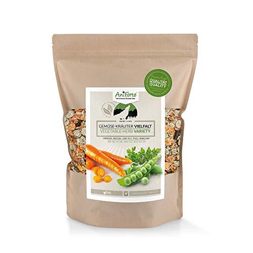 AniForte Variedad de Hortalizas y Hierbas para perros 1kg - producto natural, Alimento suplementario BARF, sin cereales, sin gluten, hojuelas sin aditivos artificiales, alimento