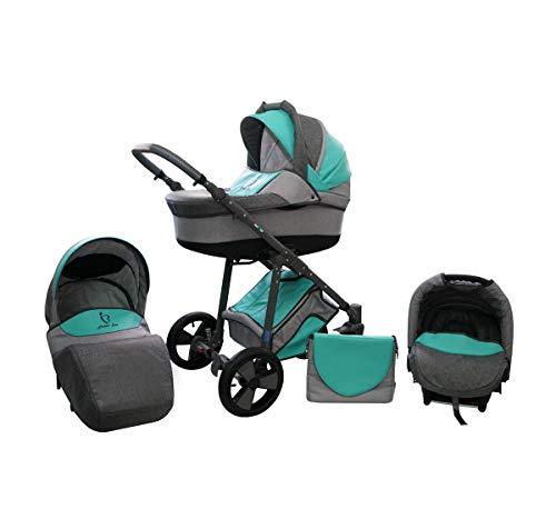 Cochecito Lux4Kids con neumáticos antipinchazos 8 colores Sombrilla para silla de paseo Perlux Green 02 Silla de auto 4 en 1 + ISOFIX