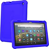 "TECHGEAR Bumper Coque pour Nouvelle Tablette Fire HD 8"" HD 8 Plus 10e Gén / 2020, Coque de Protection Caoutchouc Résistante aux Chocs avec Bords et Coins Renforcés + Film de Protection [Bleu]"