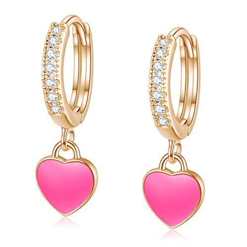 14K Rose Gold Plated Cubic Zirconia Huggie Hoop Earrings Enamel Hot Pink MIni Heart Dangle Drop Huggies Earrings for Women Girls Valentines Day Gift