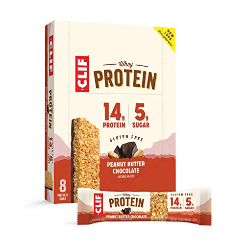 CLIF Whey Protein - Snack Bars - Peanut Butter & Chocolate Flavor - (1.98 Ounce Complete Protein Bars, 8 Count)