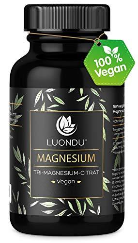 Luondu Magnesiumcitrat 365 Kapseln hochdosiert - 2250mg davon 360mg elementares Premium Magnesium pro Tagesdosis I Magnesium Citrat Vegan ohne Zusatzstoffe hergestellt in DE