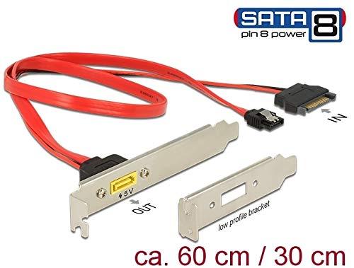 DeLock Slotblech SATA 6 Gb/s 7 Pin Buchse + SATA 15 Pin Strom Stecker intern an SATA Stecker Pin 8 Power extern, [84951]