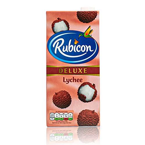 [ 12 x 1 Liter ] RUBICON Lychee Fruit Drink / Litschi Fruchtsaftgetränk DELUXE + ein kleines Glückspüppchen - Holzpüppchen