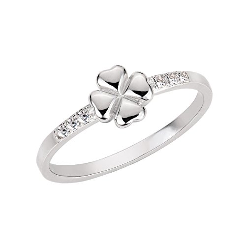 CloseoutWarehouse Cubic Zirconia Four Leaf Clover - Sterling Silver Faith Ring