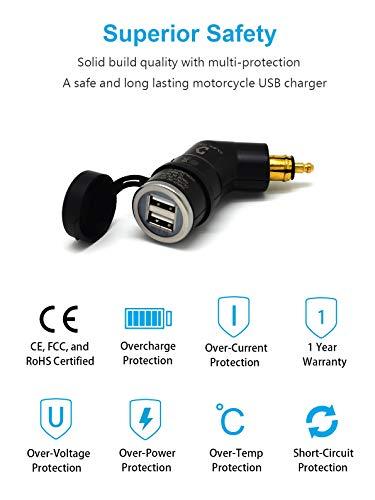 Cliff Top 3.3 Amp moto Hella (DIN) à Adaptateur USB (angle), kompatibel mit BMW Motorrädern