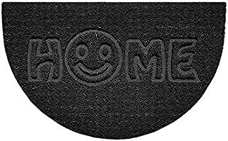 Nicoman Embossed Halfmoon Half Circle Door Mat Dirt-Trapper Jet-Washable Doormat 70x44cm (Black, Home Smiley FACE Shape) -...