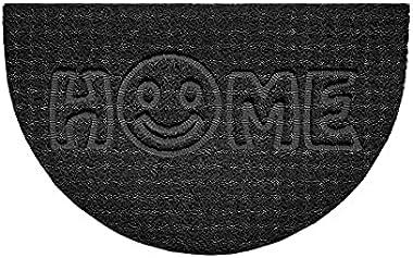 Nicoman Embossed Halfmoon Half Circle Door Mat Dirt-Trapper Jet-Washable Doormat 70x44cm (Black, Home Smiley FACE Shape) - Us