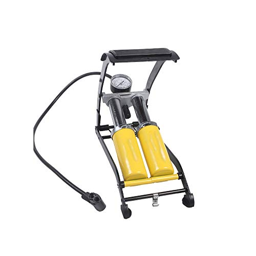 WNN-URG Doble tubo de la bomba de doble cilindro del pedal del coche bomba de aire Bomba de pie portátil de la bomba de aire del neumático del coche con manómetro de neumático neumático de la biciclet