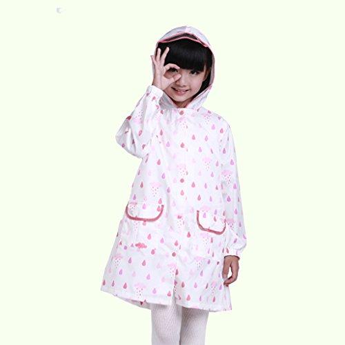 Vestes anti-pluie QFF Child Raincoat Boy Girl Poncho Student Bébé Raincoat Protection de l'environnement sans goût (Couleur : Rose, Taille : L)