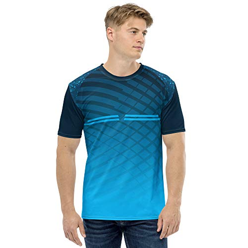 JJ TEES Polyester Half Sleeve Jersey with Round Collar and Digital Print All Over for Men (Size:XL) (Color:Navy Blue and Light Blue)