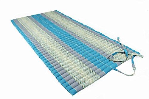 Rollbare Thaimatte Matratze, ca. 200 x 100 cm, Thaikissen Matte, blau, mit Füllung aus Kapok