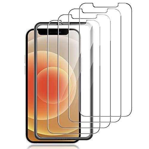 LK Schutzfolie Kompatibel mit iPhone 12/12 Pro Panzerglas, 6.1 Zoll, HD Klar Panzerglasfolie, 9H Härte Folie, Kratzfest, Blasenfrei, Einfacher Montage