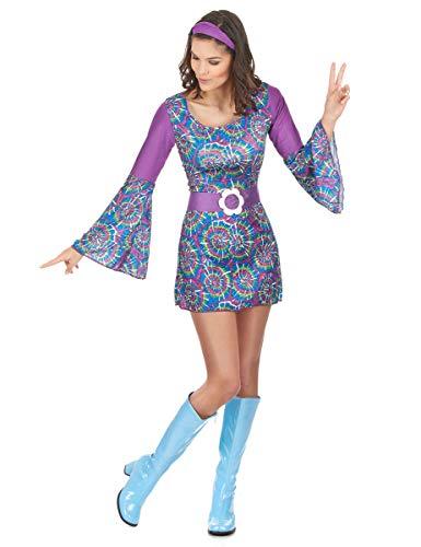 DEGUISE TOI Déguisement Hippie psychedelique Femme - Bleu - M