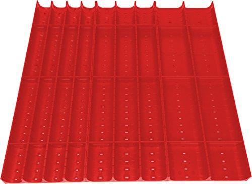 36-teiliges Schubladeneinsatz Set/Muldeneinsatz für Schubladen mit 450x450 mm (BxT) Innenmaß, aus ABS, rot, Muldenelemente, Schubladenmulden, Mulden