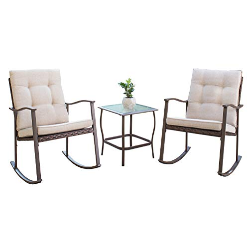 SOLAURA Outdoor Furniture 3-Piece Rocking Wicker Patio Bistro Set Brown Wicker with Beige Cushions - Two Rocking Chairs with Glass Coffee Table
